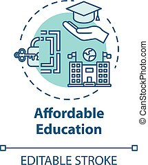Affordable education concept icon. Student loan. Cheap university. Scholarship, mortrage. Accessible knowledge idea thin line illustration. Vector isolated outline RGB color drawing. Editable stroke