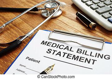 affordable, faturando, médico, caneta, saúde, care., declaração, stethoscope.