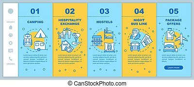 Affordable recreation onboarding vector template. Low cost rest on vacation, inexpensive tourism. Responsive mobile website with icons. Webpage walkthrough step screens. RGB color concept
