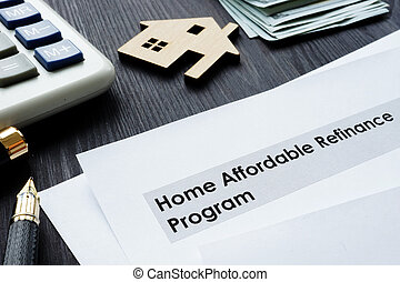 affordable, refinance, desk., program, papiery, dom, harfa