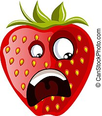 Affraid strawberry face illustration vector on white background