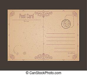 affrancatura, buste, cartolina, vendemmia, stamp., disegno, lettera
