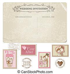 affrancatura, cartolina, -, disegno, invito, francobolli, matrimonio, album, congratulazione