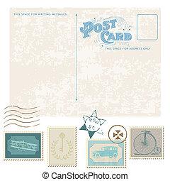 affrancatura, cartolina, -, disegno, invito, francobolli, retro, matrimonio, album, congratulazione
