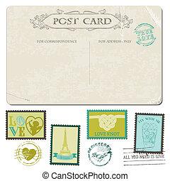 affrancatura, cartolina, vendemmia, -, disegno, invito, francobolli, matrimonio, album, congratulazione