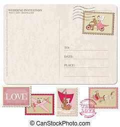 affrancatura, cartolina, vendemmia, invito, -, francobolli, vettore, disegno, matrimonio, album