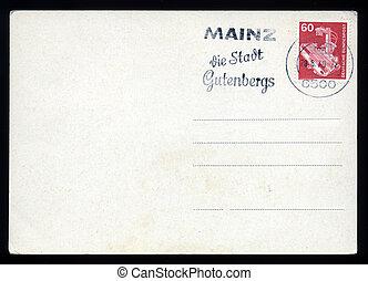 affrancatura, cartolina, vuoto, metro, francobollo