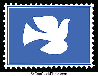 affrancatura, colomba, francobolli, vettore, silhouette