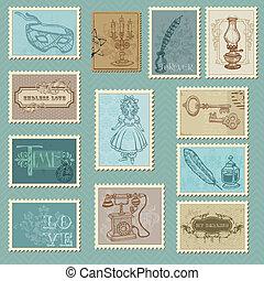 affrancatura, -, disegno, invito, francobolli, retro, matrimonio, album, congratulazione