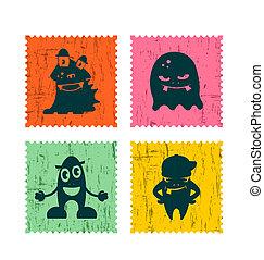 affrancatura, divertente, set, francobollo, illustrazione, retro, monsters., cartone animato
