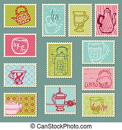 affrancatura, divertente, teiere, -, disegno, invito, francobolli, album, campanelle, congratulazione