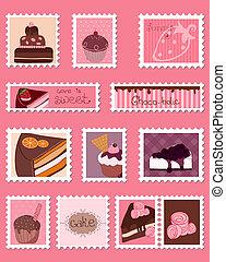 affrancatura, dolce, francobolli, vettore, set