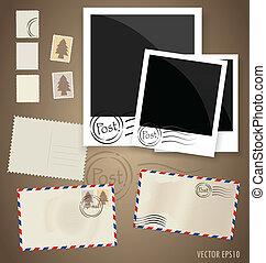 affrancatura, eps10, cartolina, vendemmia, progetta, busta, vettore, stamps.