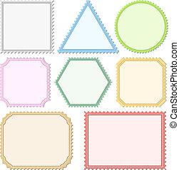 affrancatura, eps10, colorare, illustrazione, vettore, francobolli