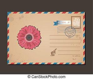 affrancatura, fiore, lettere, cartolina, vendemmia, busta, disegno, stamps., modello