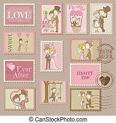 affrancatura, -, francobolli, vettore, disegno, matrimonio, album