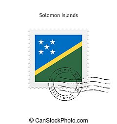 affrancatura, isole, solomon, bandiera, stamp.