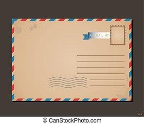 affrancatura, lettere, cartolina, vendemmia, busta, disegno, stamps., modello