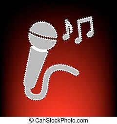 affrancatura, microfono, vecchio, note., francobollo, foto, pendenza, stile, segno, fondo., musica, red-black, o