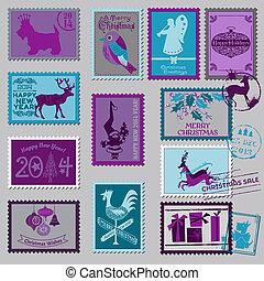 affrancatura, -, natale, francobolli, vettore, album, disegno
