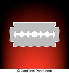 affrancatura, rasoio, stile, vecchio, fondo., francobollo, foto, segno., lama, pendenza, red-black, o