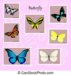 affrancatura, rosa, sette, set, francobolli, farfalle, fondo, nomi, specie