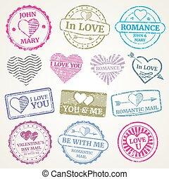 affrancatura, set, romantico, scheda, francobollo, giorno valentines, vettore, disegno, invito, matrimonio, palo