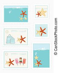 affranchissement, été, timbres, themed
