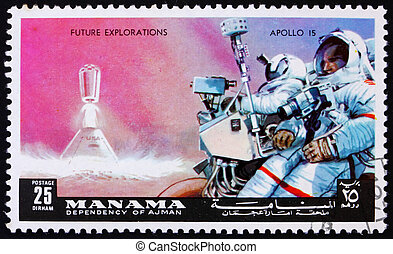 affranchissement,  15, timbre,  1972,  Manama, astronaute, appareil photo,  Apollo