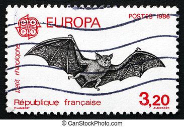 affranchissement, 1986, voler, timbre, chauve-souris, france...