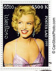 affranchissement, :, 1999, 1960s, -, actrice, timbre, imprimé, laos, populaire, environ, marilyn monroe, spectacles
