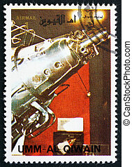 affranchissement, 3, timbre, 1972, al-quwain, vaisseau spatial, spoutnik, umm