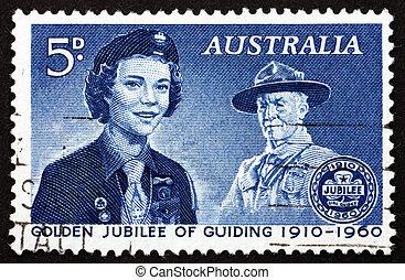 affranchissement, australie, timbre, 1960, baden-powell, seigneur, guide fille
