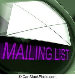 affranchissement, base données, moyens, liste, contacts, ou, publipostage, email
