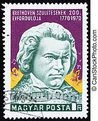 affranchissement, beethoven, statue, timbre, 1970, janos, pasztor, hongrie