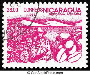 affranchissement, café, 1983, reform, timbre, haricots, nicaragua, agraire
