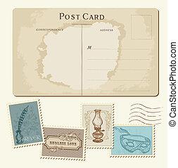affranchissement, carte postale, vendange, -, conception, invitation, timbres, mariage, album, félicitation