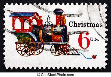 affranchissement, cast-iron, locomotive, usa, timbre, 1970, étain, noël