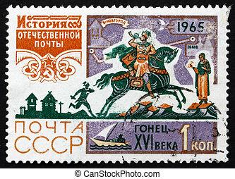affranchissement, cavalier, siècle, timbre, 1965, russie, poste, 16ème