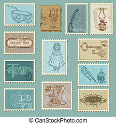 affranchissement, -, conception, invitation, timbres, retro...