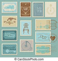 affranchissement, -, conception, invitation, timbres, retro, mariage, album, félicitation