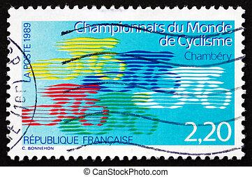 affranchissement, cyclisme, timbre, 1989, championnats, ...