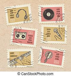 affranchissement, décoratif, ensemble, scrapbooking, équipement, collection, -, thème, annulé, timbres, vecteur, musique, retro, fond, réaliste, carton