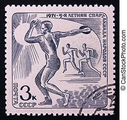affranchissement, disque, timbre, 1971, courant, russie