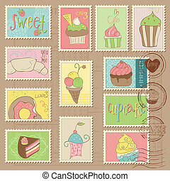affranchissement, doux, gâteaux, timbres, desserts