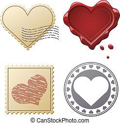 affranchissement, ensemble, isolé, valentin, arrière-plan., timbres, blanc, cachets