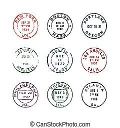 affranchissement, ensemble, vendange, illustration, vecteur, stamps.