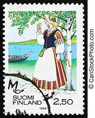 affranchissement, femme, timbre, finlande, 1989, veteli