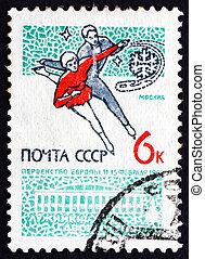affranchissement, figure, danse, timbre, 1965, patinage glace, russie