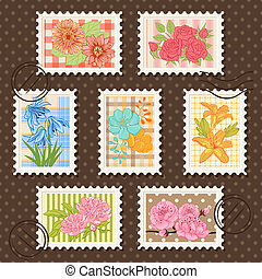 affranchissement, fleur, collection., set., timbres, vecteur